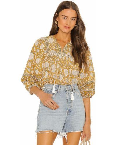 Желтая деловая хлопковая блузка Cleobella