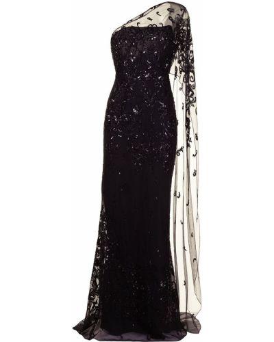 Шелковое черное вечернее платье с пайетками Zuhair Murad