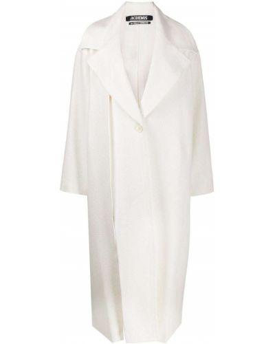 Белое свободное шерстяное пальто на пуговицах Jacquemus