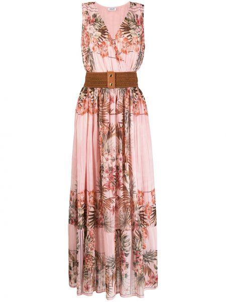 Платье макси розовое с цветочным принтом Liu Jo