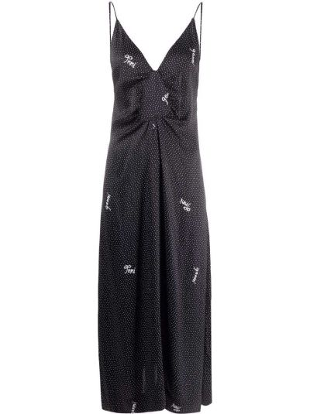 Czarna sukienka z wiskozy Ganni