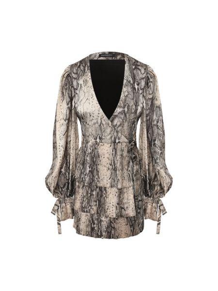 Платье с поясом с V-образным вырезом мерцающее Wandering