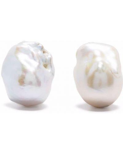Białe kolczyki sztyfty perły Monies