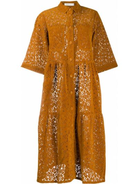 Коричневое классическое ажурное платье с рукавами с воротником Neul