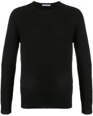 С рукавами черный свитер в рубчик с вырезом Cenere Gb