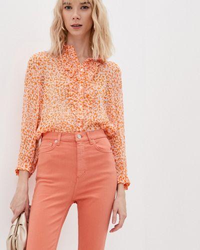 Оранжевая блузка с рюшами French Connection