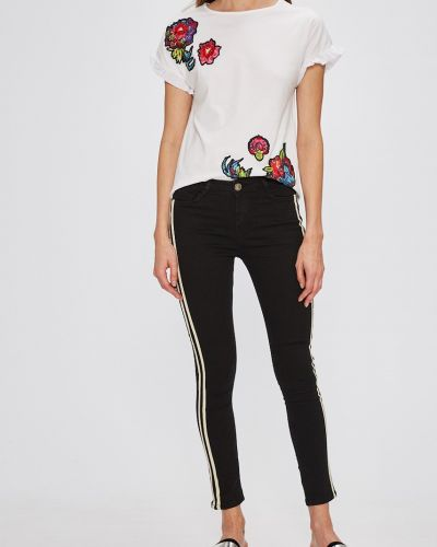 Черные джинсы-скинни с нашивками с поясом Miss Poem