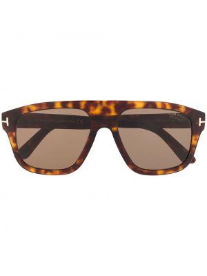 Прямые солнцезащитные очки хаки с завязками Tom Ford Eyewear