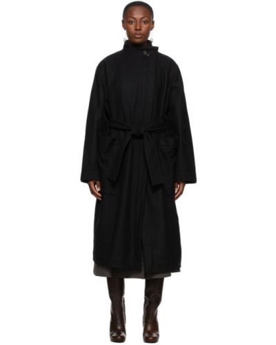 Czarny wełniany długi płaszcz z kołnierzem z kieszeniami Lemaire
