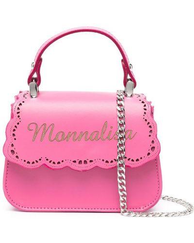Хлопковая с ремешком розовая сумка на цепочке Monnalisa