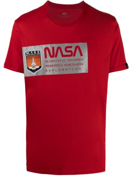Хлопковая с рукавами красная рубашка Alpha Industries