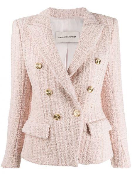 Розовый приталенный пиджак с карманами Alexandre Vauthier