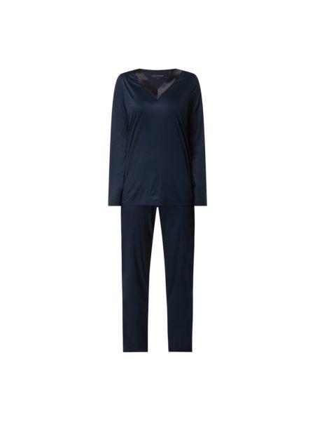 Niebieska piżama z długimi rękawami z dekoltem w serek Schiesser