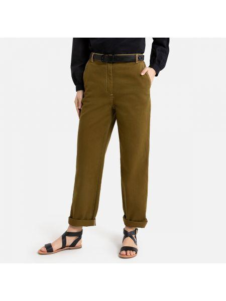 Прямые зеленые брюки чиносы с накладными карманами La Redoute
