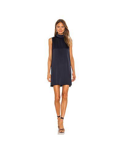 Синее шелковое платье с воротником на молнии Atm Anthony Thomas Melillo