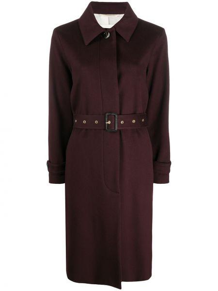Красное шерстяное длинное пальто с воротником Mackintosh