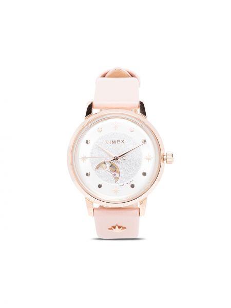 Z paskiem skórzany różowy zegarek na skórzanym pasku okrągły Timex