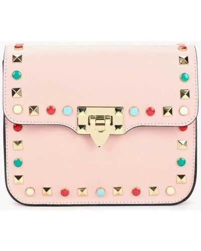 Кожаная сумка через плечо розовый Lamania