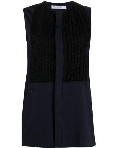 Niebieska koszula bawełniana bez rękawów Christian Dior