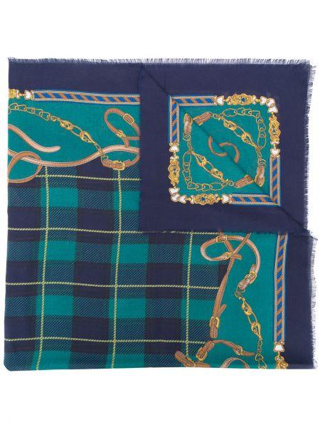 Синий шерстяной платок винтажный Hermes