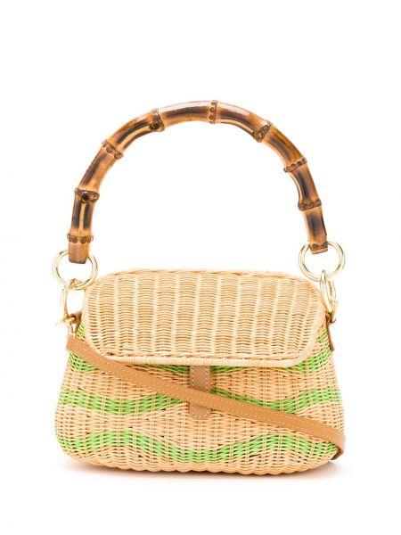 Кожаная зеленая соломенная кожаная сумка Serpui