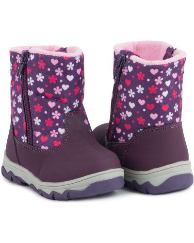 Брендовые фиолетовые текстильные сапоги Kdx