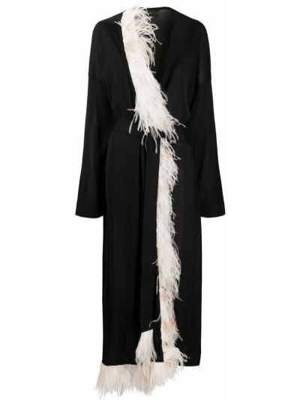 Платья-кимоно шелковое черное кимоно с бахромой Alanui