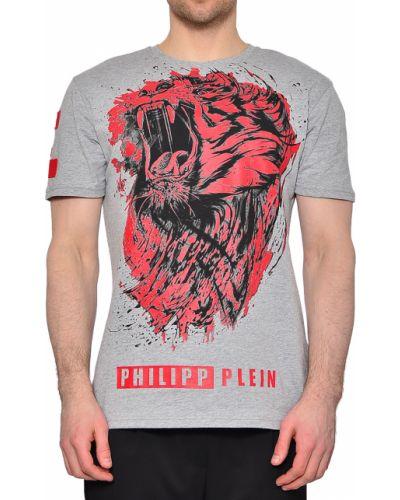 Серая хлопковая футболка Philipp Plein
