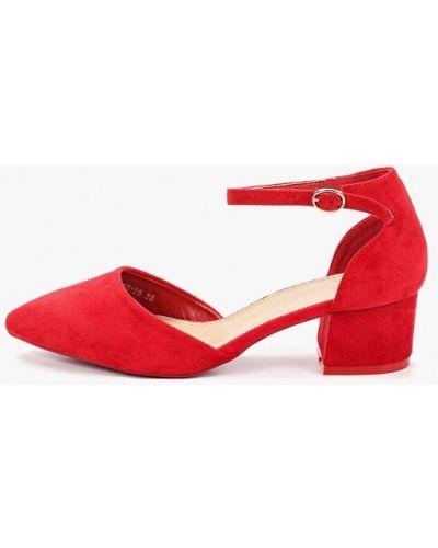 Туфли на каблуке красные замшевые Catisa