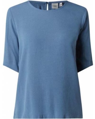 Niebieska bluzka krótki rękaw z wiskozy Ichi