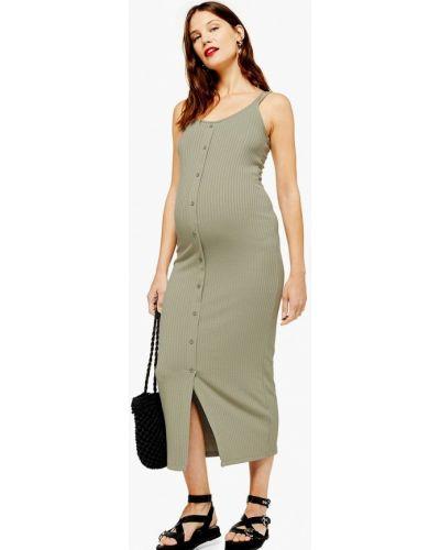 Платье для беременных осеннее хаки Topshop Maternity