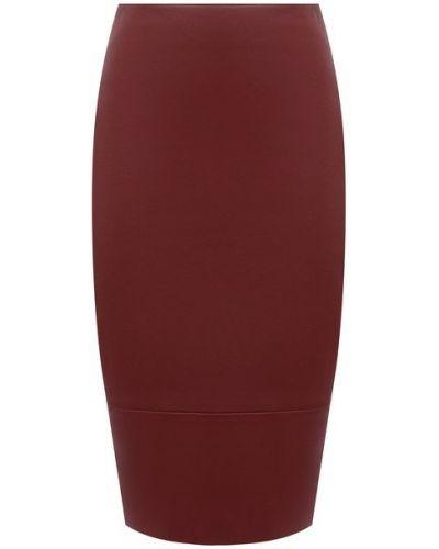 С завышенной талией красная кожаная юбка карандаш Kiton