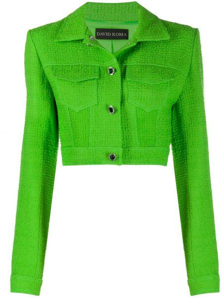 Зеленый шерстяной удлиненный пиджак с воротником David Koma