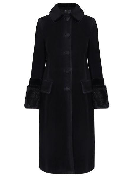 Черный приталенный длинный плащ с воротником трапеция Prada