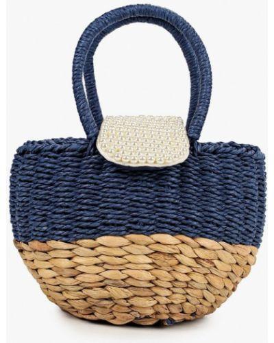Соломенная синяя сумка с ручками Katomi