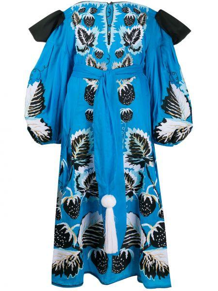 Хлопковое синее расклешенное платье миди узкого кроя Yuliya Magdych