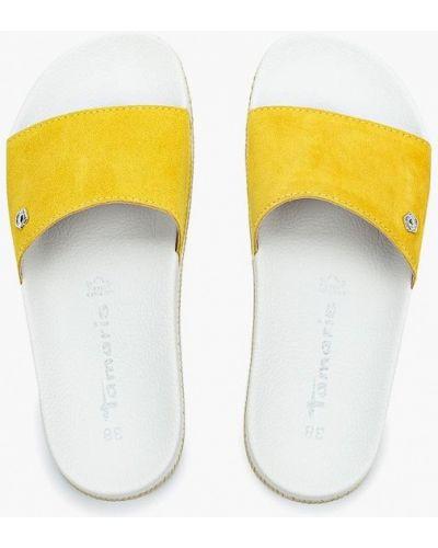 Желтые замшевые сабо Tamaris