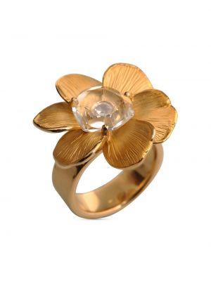 Золотистое кольцо с бриллиантом золотое Carrera Y Carrera
