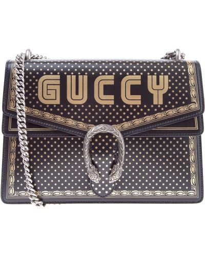 Кожаный сумка с логотипом с принтом Gucci