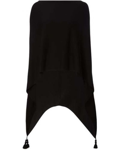 Czarny ponczo z wiskozy asymetryczny Comma