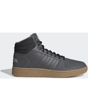 Городские баскетбольные черные высокие кроссовки со вставками Adidas