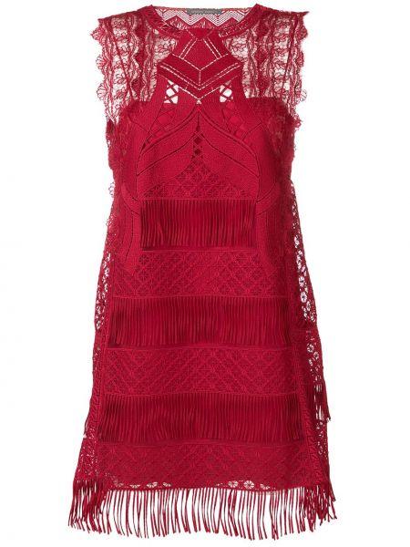 Ажурное платье мини с бахромой без рукавов с вырезом Alberta Ferretti