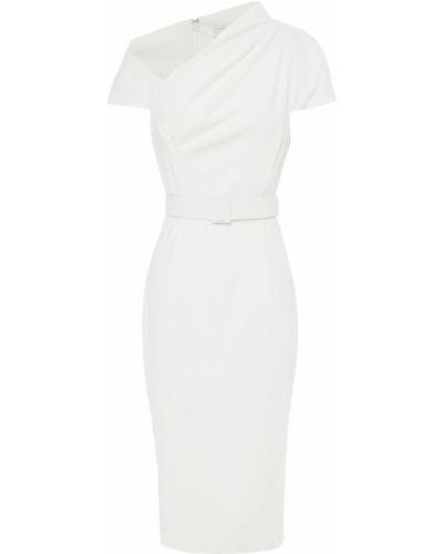 Плиссированное белое платье с поясом Badgley Mischka
