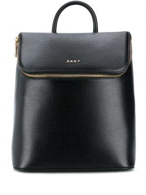 Черный кожаный рюкзак с карманами Dkny