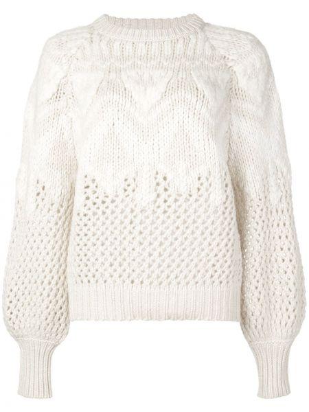 Белый длинный свитер круглый с вырезом Brunello Cucinelli