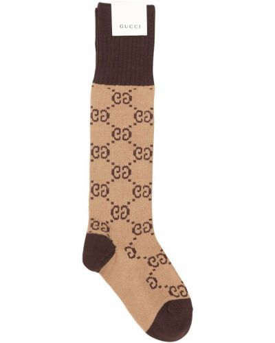 Prążkowane beżowe skarpety bawełniane Gucci