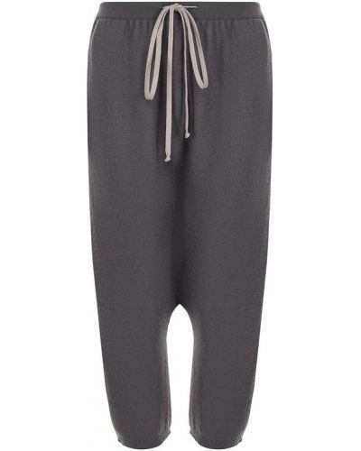 Укороченные брюки кашемировые серые Rick Owens