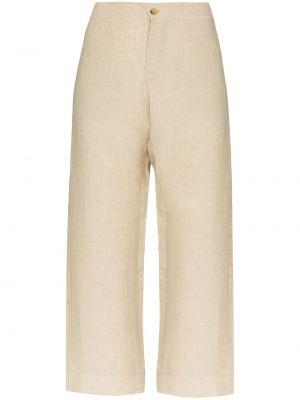 Beżowe spodnie z wysokim stanem Asceno