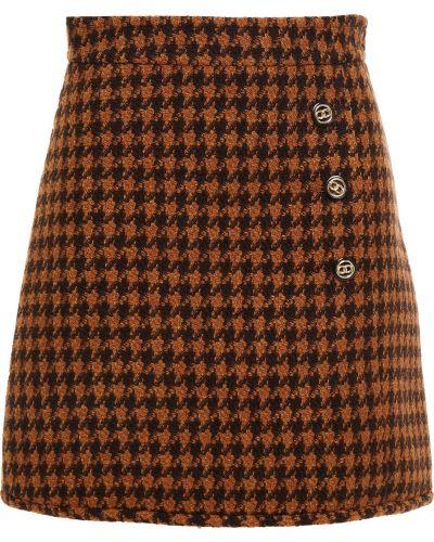 Шерстяная юбка мини - коричневая Sandro
