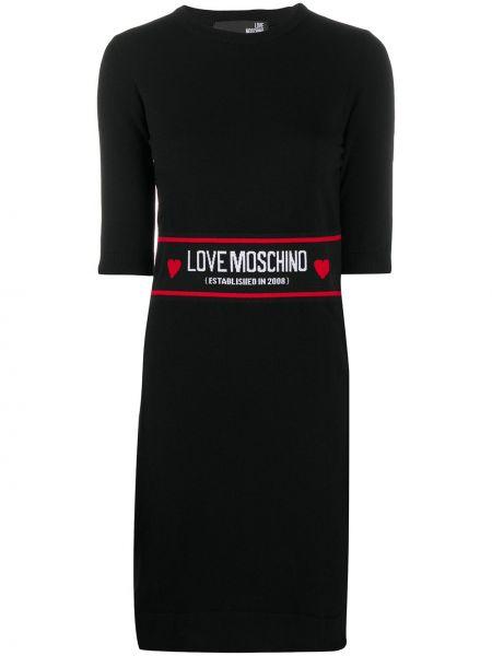Шерстяное облегающее черное платье мини Love Moschino